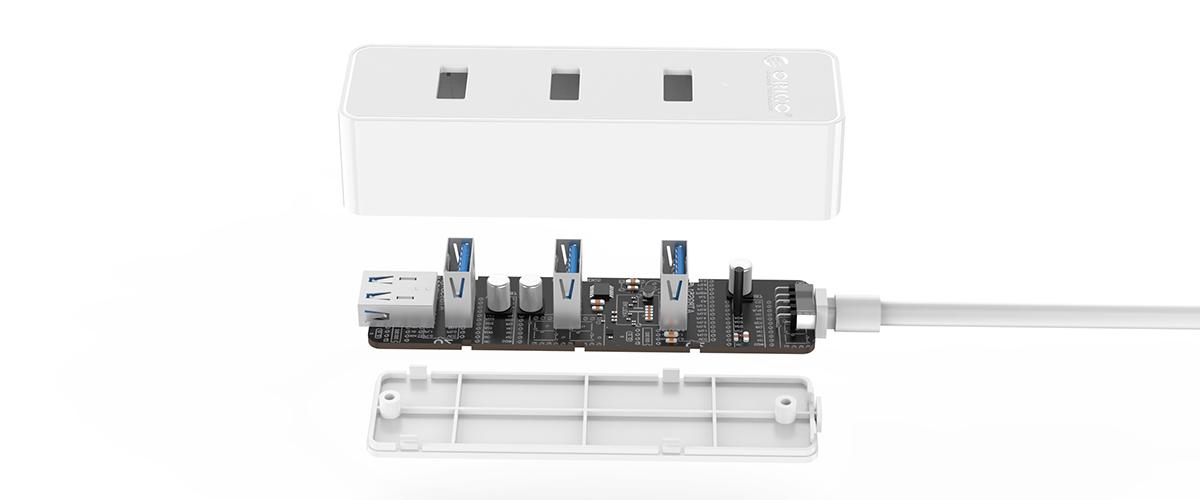 usb 3.0 چهار پورت اوریکو مدل w5ph4 u3 v1 1 - هاب USB 3.0 چهار پورت اوریکو مدل W5PH4-U3-V1